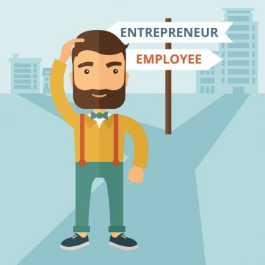 A hipster Caucasian man change career directions employee to entrepreneur street direction a sign of progress a big decision to make in changing direction. Improvement concept. A contemporary style clip art vector