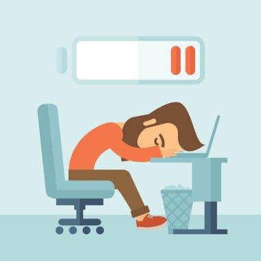 Lying tired employee.