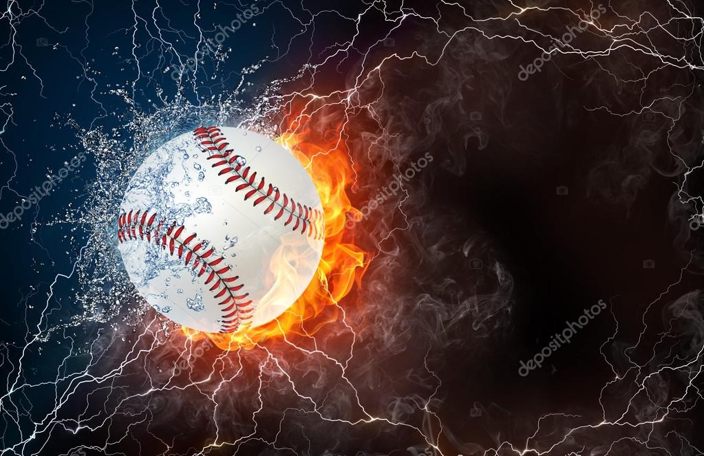 Softball ball in fire and water
