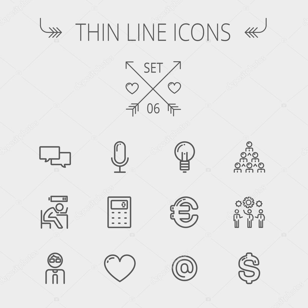 Business thin line icon set.