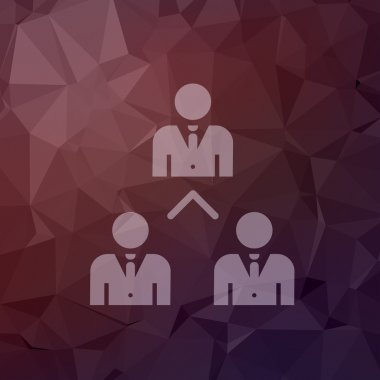 Three business people in flat style icon