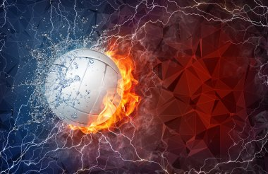 Volleyball ball in fire and water