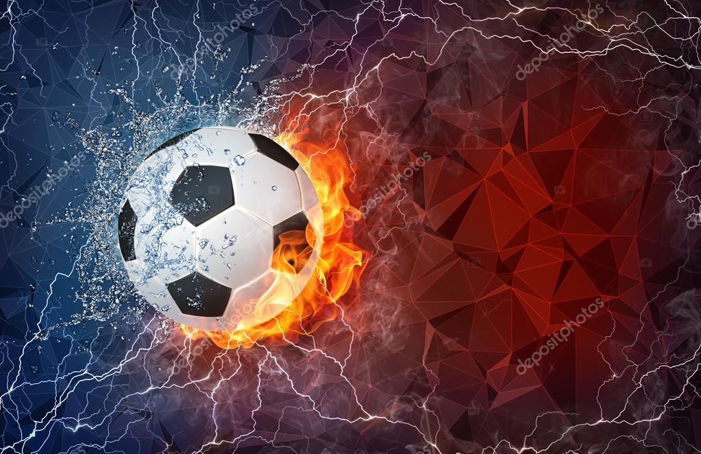 Soccer ball in fire and water