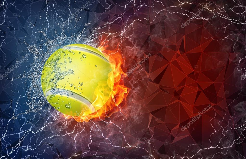 Tennis ball in fire and water
