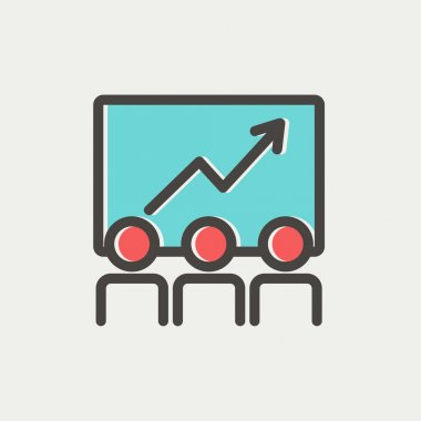 Business growth icon thin line for web and mobile, modern minimalistic flat design. Vector icon with dark grey outline and offset colour on light grey background clip art vector