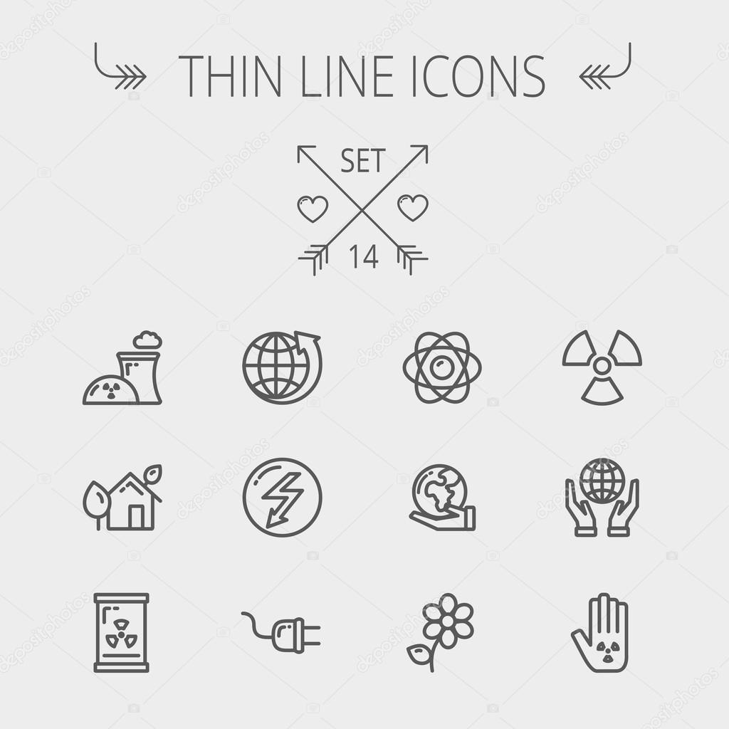 Ecology thin line icons
