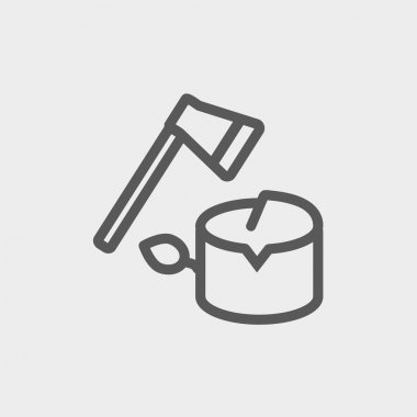 Ax and wood thin line icon