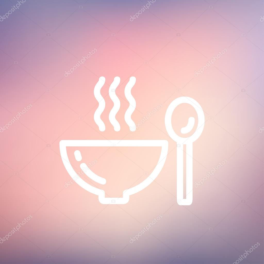 Bowl of hot soup with spoon thin line