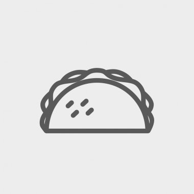 Taco icon thin line for web and mobile, modern minimalistic flat design. Vector dark grey icon on light grey background clip art vector