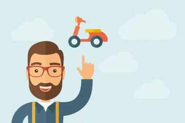 Man pointing the motorbike icon