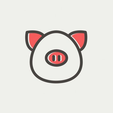 Pig face thin line icon