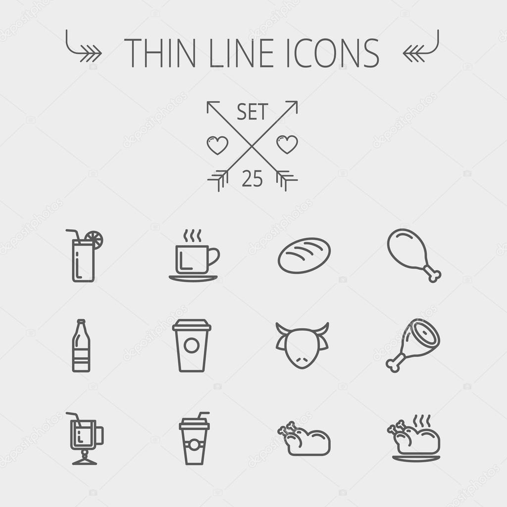 Food and drink thin line icon set