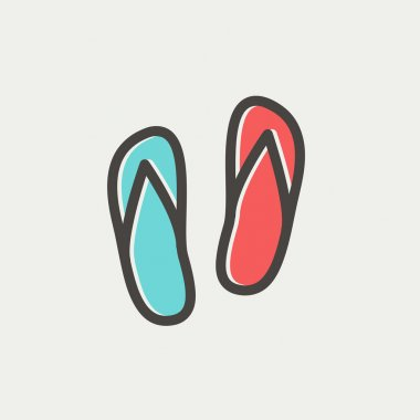 Beach slippers thin line icon