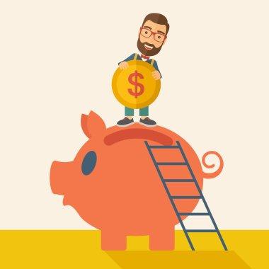 Big piggy bank with ladder