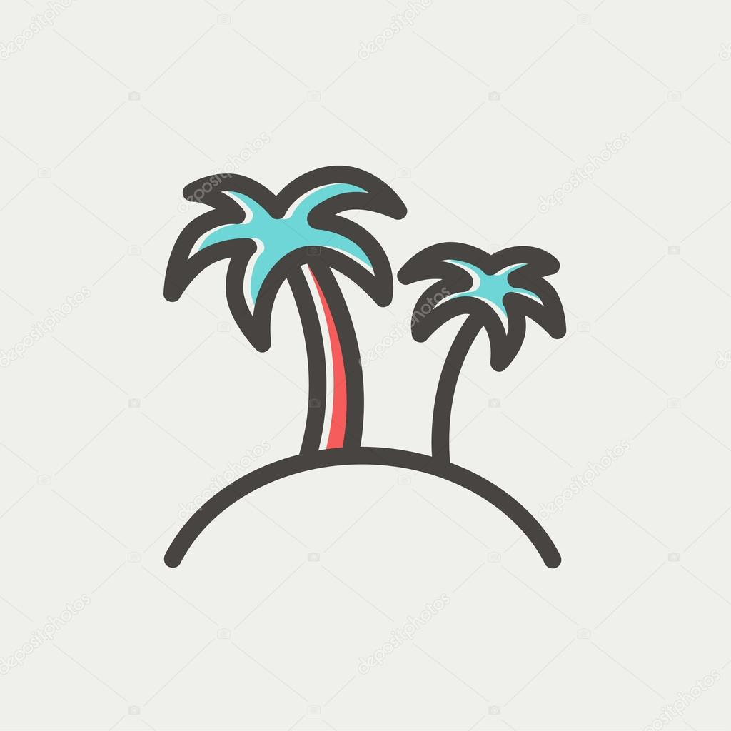 Two palm trees thin line icon