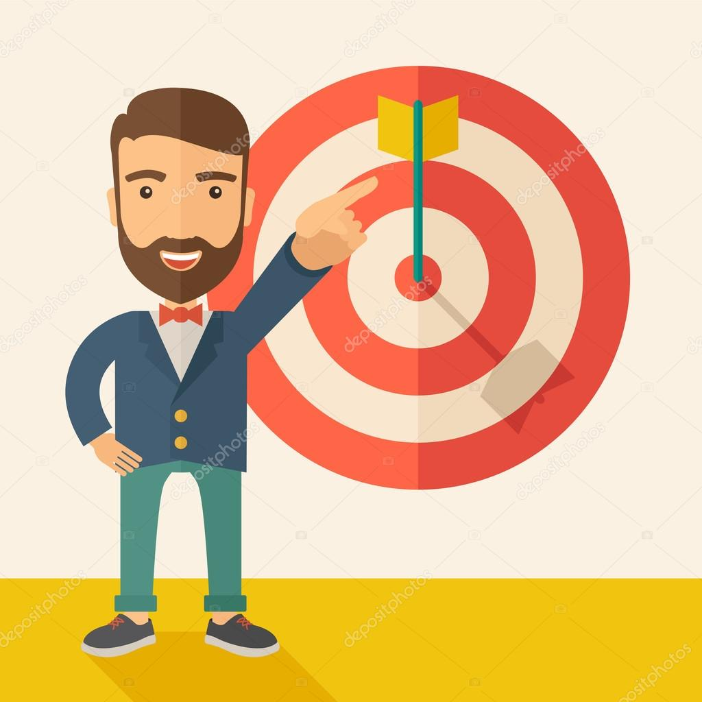 A Caucasian salesman happy standing while his hand pointing to the arrow from target pad shows that he hit his target sales. Business concept. A Contemporary style with pastel palette, soft beige clipart vector