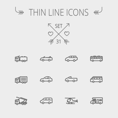 Transportation thin line icon set