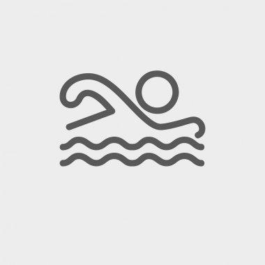 Swimmer thin line icon