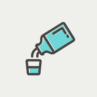 Medicine and measuring cup icon thin line for web and mobile, modern minimalistic flat design. Vector icon with dark grey outline and offset colour on light grey background clip art vector