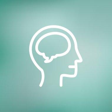 Human head with brain thin line icon