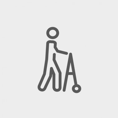 Disabled person with walker thin line icon