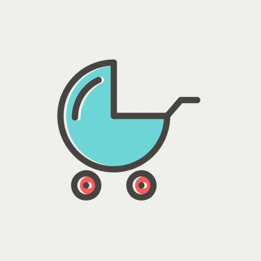 Baby stroller thin line icon