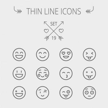 Emoji thin line icon set