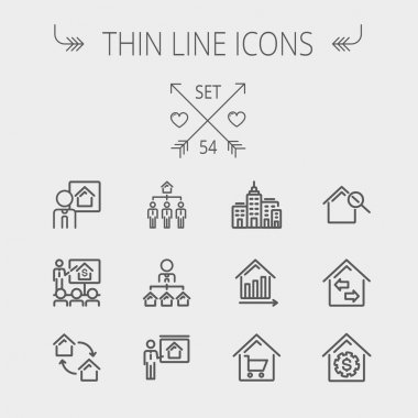 Real Estate thin line icon set