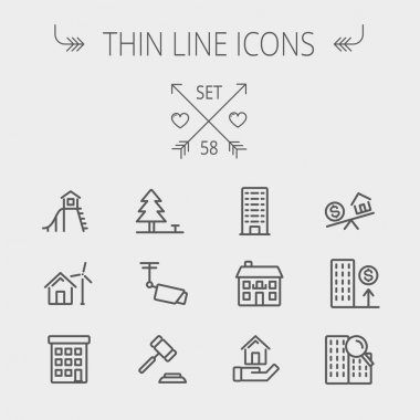 Real Estate thin line icon set