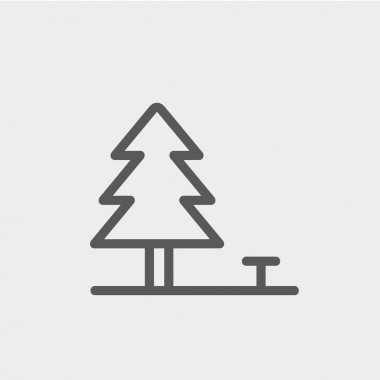 Pine tree thin line icon