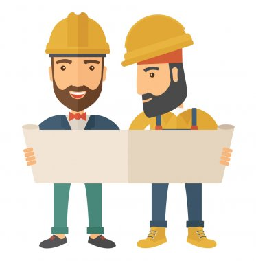 A two young architects wearing protection helmets looing at blueprint.  A Contemporary style. Vector flat design illustration isolated white background. Square layout stock vector