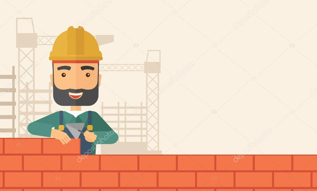 A Smiling Builder Wearing Hard Hat Buiding Brick Wall Contemporary Style With Pastel Palette Soft Beige Tinted Background