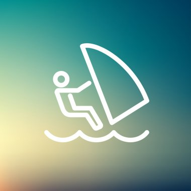 Wind surfing thin line icon
