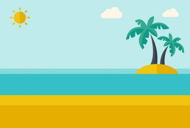 Tropical sea island with palm trees.