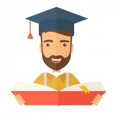 Man standing with graduation cap.