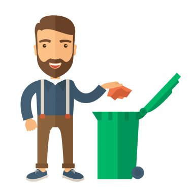 Man throwing paper in a garbage bin
