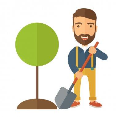 Gardener plant a tree