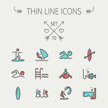 Sports thin line icon set
