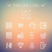 Geschäft einkaufen dünne Linie Icon-set