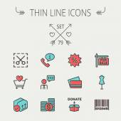 Photo Business shopping thin line icon set