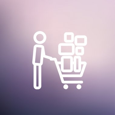 Shopping cart full of shopping bags thin line icon