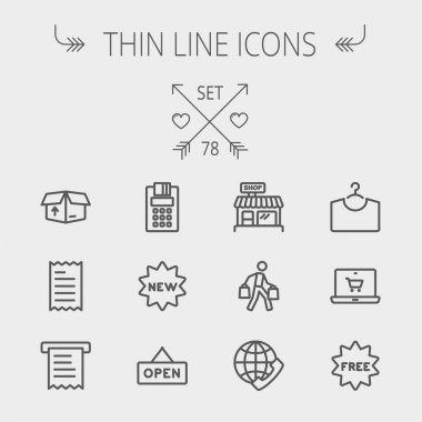 Business shopping thin line icon set
