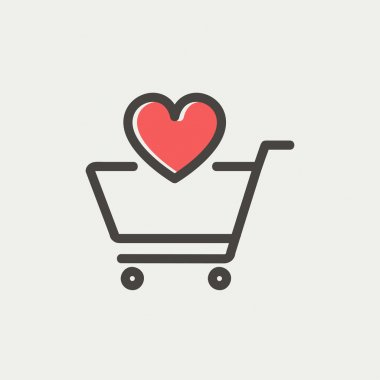 Shopping cart with heart icon thin line for web and mobile, modern minimalistic flat design. Vector icon with dark grey outline and offset colour on light grey background stock vector