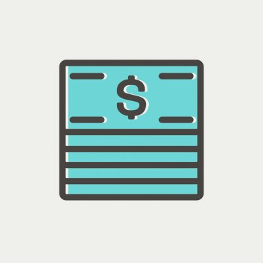 Stack of dollar bills thin line icon