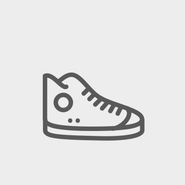 High cut rubber shoes thin line icon