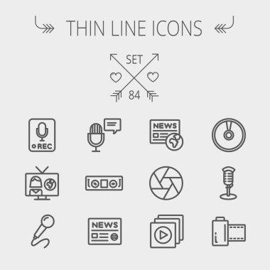 Multimedia thin line icon set
