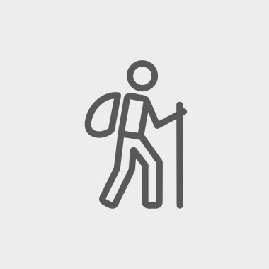 Hiking exercise thin line icon