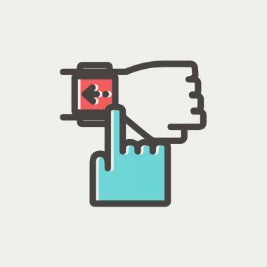 Smart watch pointing by finger thin line icon
