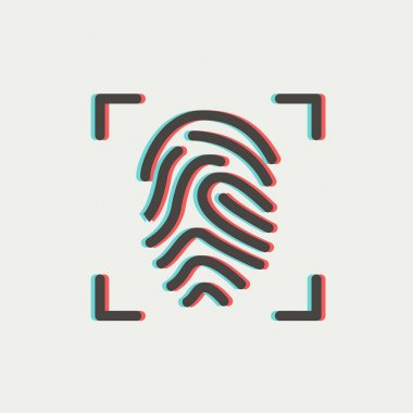 Fingerprint scanning thin line icon