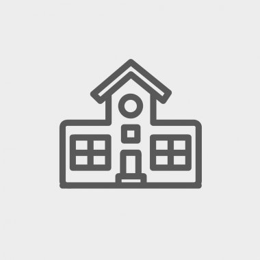 School building thin line icon